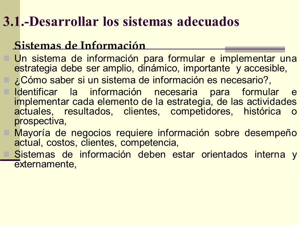 3.1.-Desarrollar los sistemas adecuados Estrategia de negocios Información Interna Información de competidores Información de consumidores de Mercado, de Precios, de distribución de promoción, de apoyo logístico, De Producción Financiera Investigación y Desarrollo Información necesaria para crear e implementar estrategia de negocios
