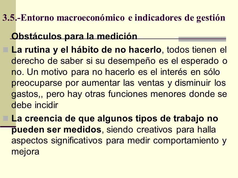 3.5.-Entorno macroeconómico e indicadores de gestión Obstáculos para la medición La rutina y el hábito de no hacerlo, todos tienen el derecho de saber