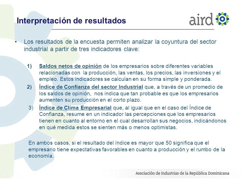 Interpretación de resultados Los resultados de la encuesta permiten analizar la coyuntura del sector industrial a partir de tres indicadores clave: 1)