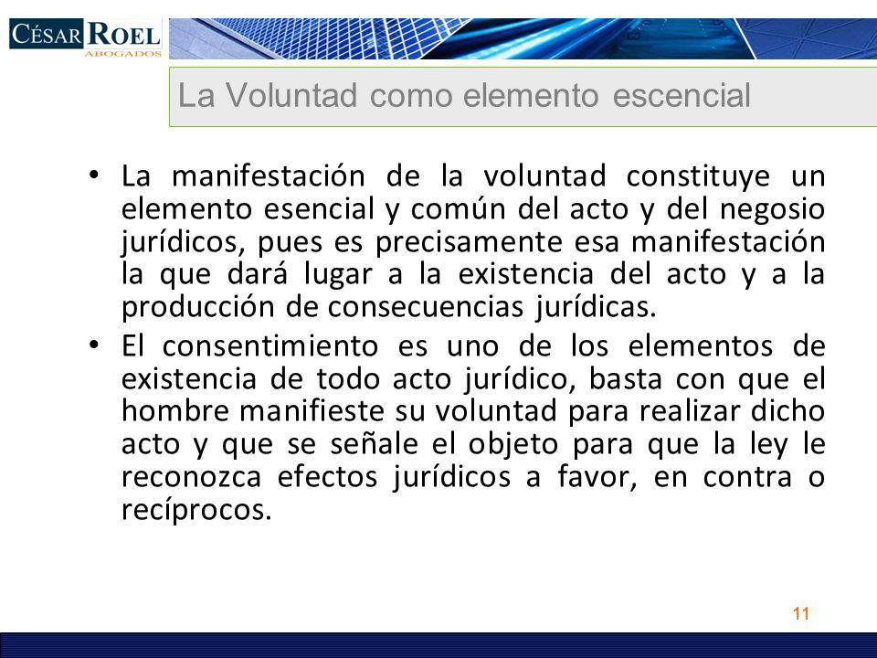 11 La Voluntad como elemento escencial La manifestación de la voluntad constituye un elemento esencial y común del acto y del negosio jurídicos, pues
