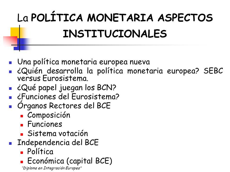 El marco de la PM en Europa: Aspectos institucionales Desde el 1 de Enero de 1999, España junto a otros 10 países (más recientemente se incorporó Grecia) conforman la UNIÓN ECONÓMICA Y MONETARIA.