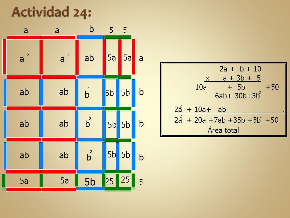 6ab+ 30b+3b 2a + 10a+ ab. 10a + 5b +50 2a + 20a +7ab +35b +3b +50 aa b 55 a b b b 5 a 2 a 2 ab 5a b 2 b 2 b 2 25 5b 2 2 2 2 Área total 2a + b + 10 x a