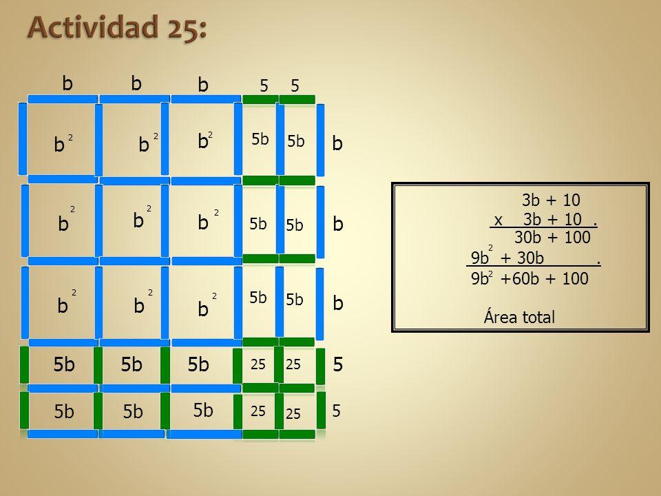9b +60b + 100 9b + 30b. bb b 55 b b b 5 5 b 2 b 2 b 5b b 2 b 2 25 5b b 2 2 b 2 b 2 b 2 25 Área total 2 2 3b + 10 x 3b + 10. 30b + 100