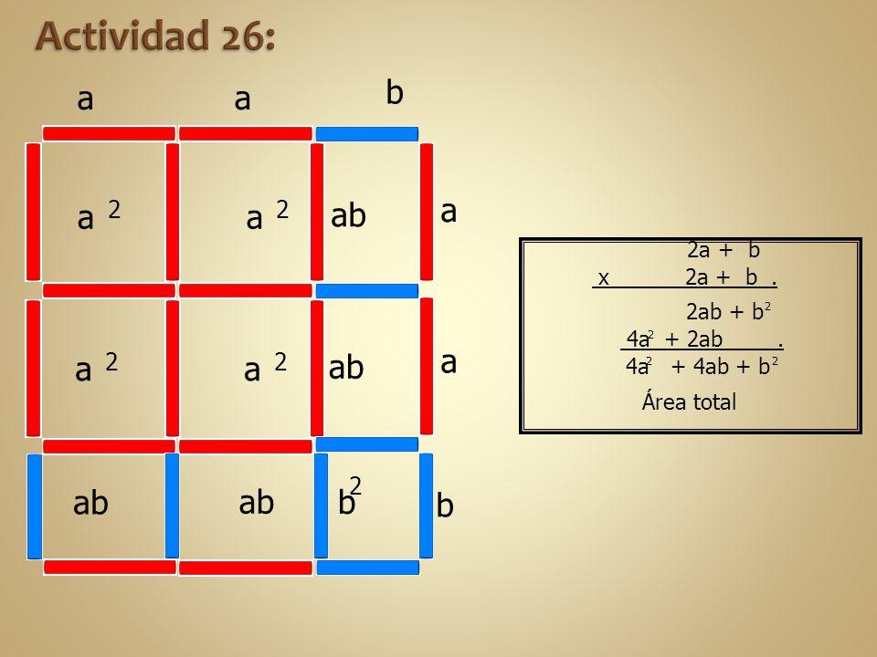 4a + 4ab + b 4a + 2ab. 2ab + b b aa a 2 a 2 ab b 2 a 2 a 2 a a b Área total 2 2 2 2 2a + b x 2a + b.
