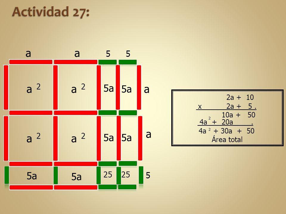 4a + 20a. 4a + 30a + 50 a 2 a 2 a 2 a 2 25 5a aa a a 5 5 5 Área total 2 2 2a + 10 x 2a + 5. 10a + 50