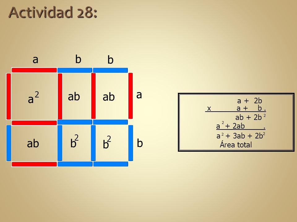 a + 3ab + 2b a + 2ab. ab + 2b a 2 b 2 b 2 ab a a b b b Actividad 28: Área total 2 2 2 2 a + 2b x a + b.