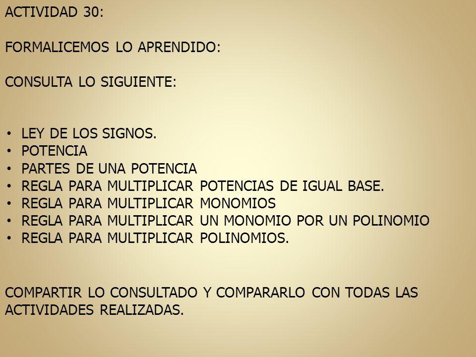 ACTIVIDAD 30: FORMALICEMOS LO APRENDIDO: CONSULTA LO SIGUIENTE: LEY DE LOS SIGNOS. POTENCIA PARTES DE UNA POTENCIA REGLA PARA MULTIPLICAR POTENCIAS DE