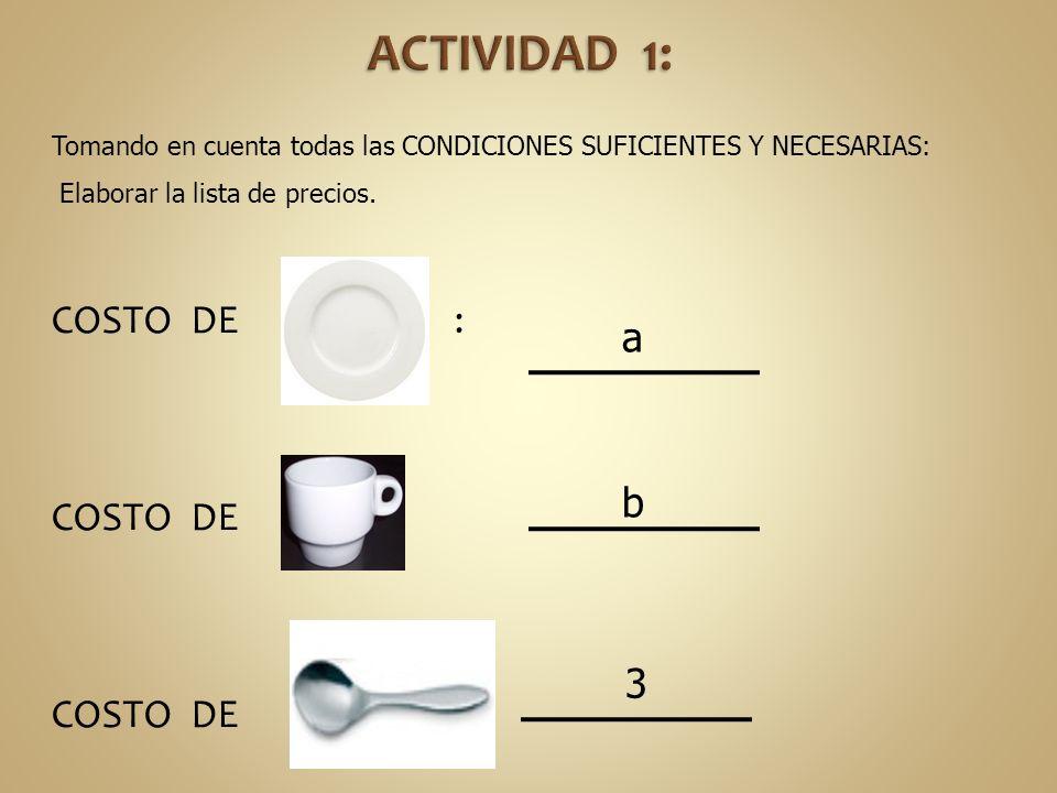 COSTO DE : a b 3 Tomando en cuenta todas las CONDICIONES SUFICIENTES Y NECESARIAS: Elaborar la lista de precios.