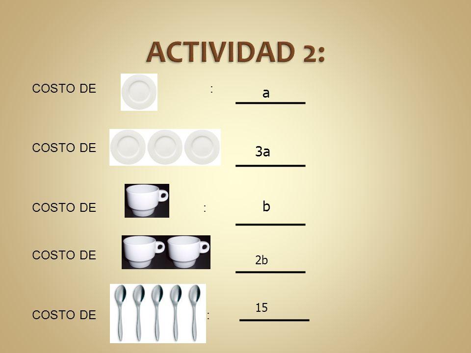 COSTO DE : a 3a b 2b 15