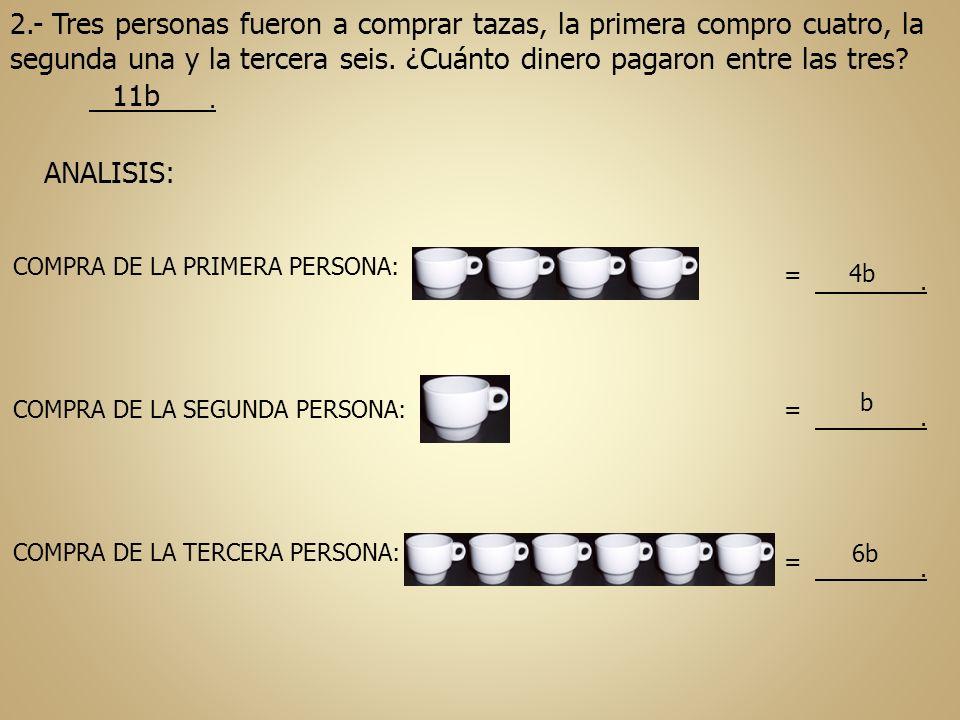 2.- Tres personas fueron a comprar tazas, la primera compro cuatro, la segunda una y la tercera seis. ¿Cuánto dinero pagaron entre las tres?. 11b ANAL