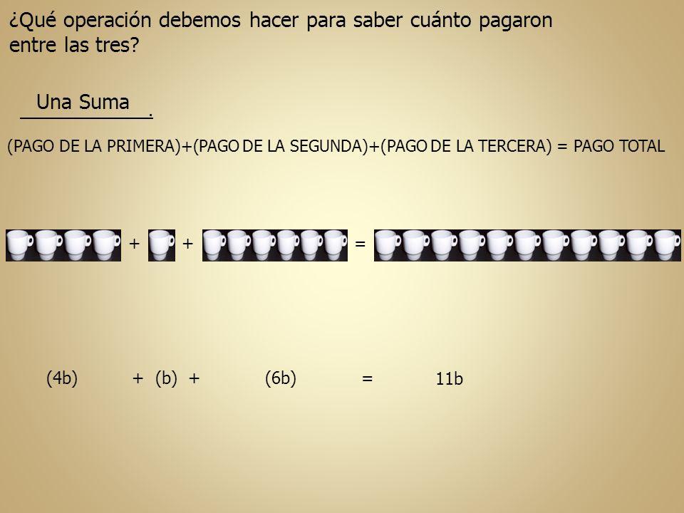(PAGO DE LA PRIMERA)+(PAGO DE LA SEGUNDA)+(PAGO DE LA TERCERA) = PAGO TOTAL ++ (4b) + (b) + (6b) = = ¿Qué operación debemos hacer para saber cuánto pa