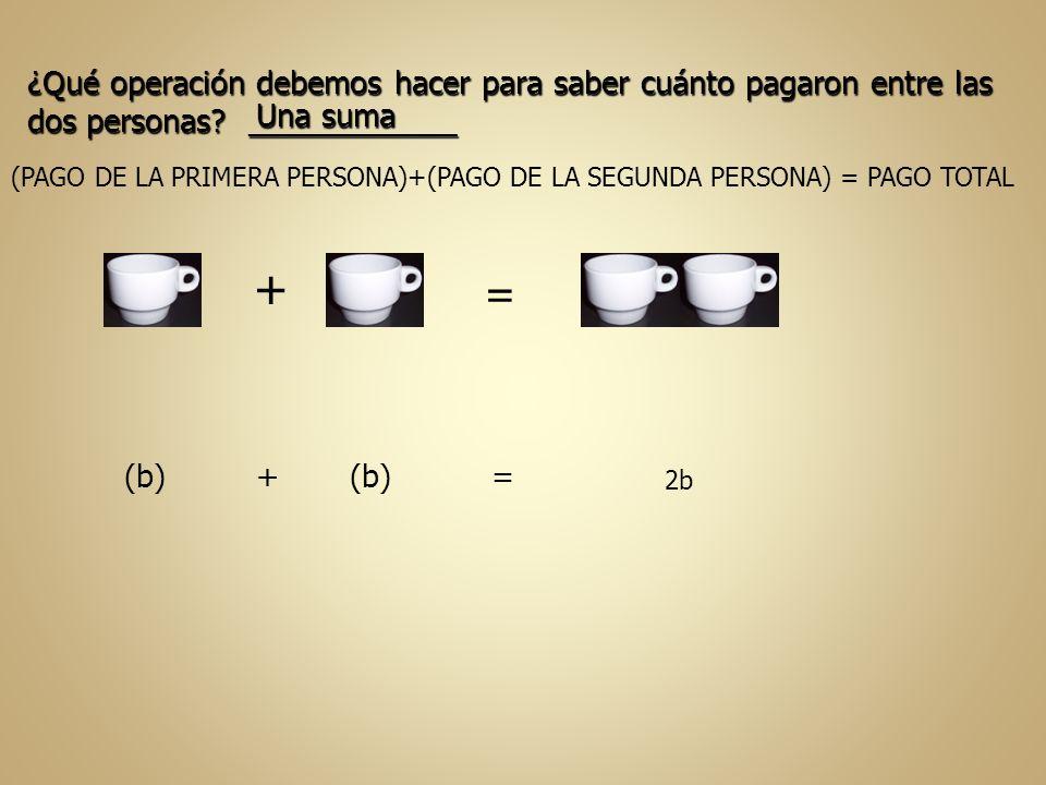 (PAGO DE LA PRIMERA PERSONA)+(PAGO DE LA SEGUNDA PERSONA) = PAGO TOTAL + = (b) + (b) = 2b ¿Qué operación debemos hacer para saber cuánto pagaron entre