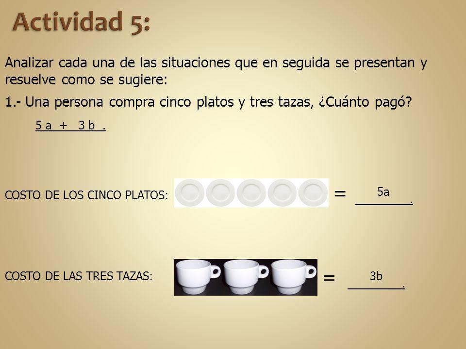 Analizar cada una de las situaciones que en seguida se presentan y resuelve como se sugiere: 1.- Una persona compra cinco platos y tres tazas, ¿Cuánto
