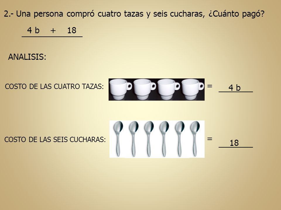 2.- Una persona compró cuatro tazas y seis cucharas, ¿Cuánto pagó? 4 b + 18 ________________ ANALISIS: COSTO DE LAS CUATRO TAZAS: COSTO DE LAS SEIS CU