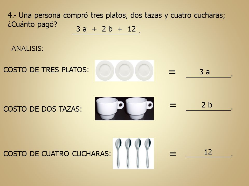 4.- Una persona compró tres platos, dos tazas y cuatro cucharas; ¿Cuánto pagó? 3 a + 2 b + 12. ANALISIS: COSTO DE TRES PLATOS: COSTO DE DOS TAZAS: COS