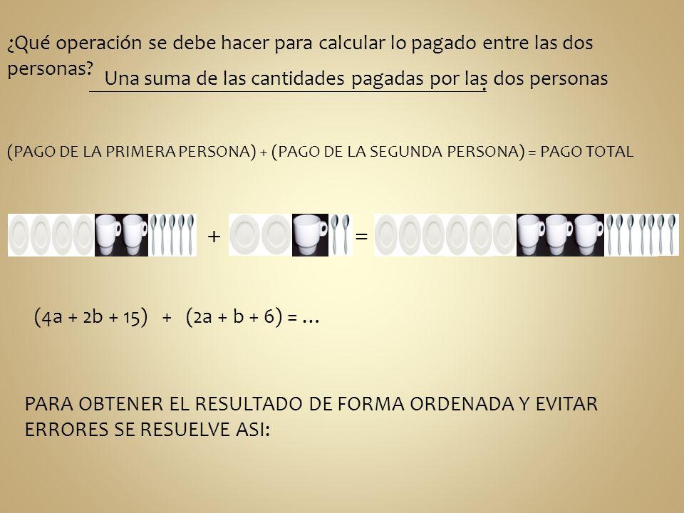¿Qué operación se debe hacer para calcular lo pagado entre las dos personas? Una suma de las cantidades pagadas por las dos personas. (PAGO DE LA PRIM