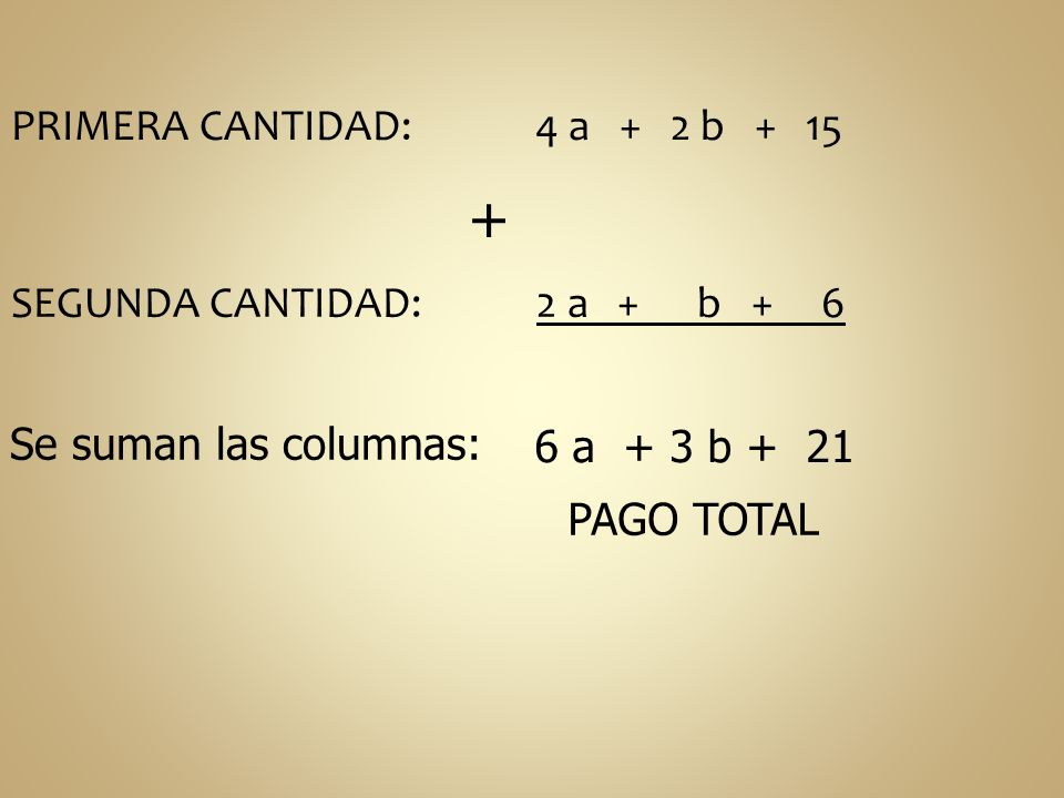 PRIMERA CANTIDAD: 4 a + 2 b + 15 + SEGUNDA CANTIDAD: 2 a + b + 6 Se suman las columnas: 6 a + 3 b + 21 PAGO TOTAL