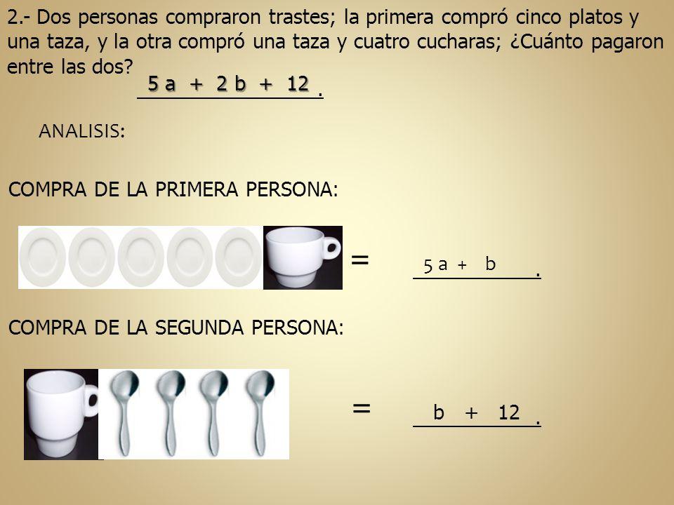2.- Dos personas compraron trastes; la primera compró cinco platos y una taza, y la otra compró una taza y cuatro cucharas; ¿Cuánto pagaron entre las