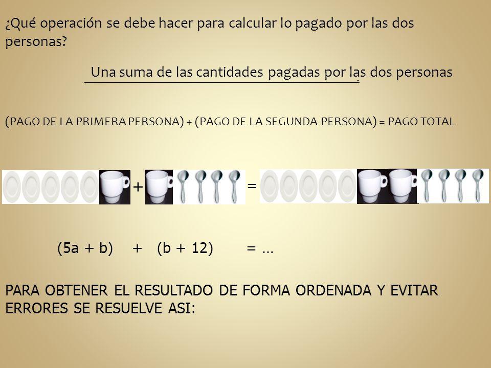 ¿Qué operación se debe hacer para calcular lo pagado por las dos personas? Una suma de las cantidades pagadas por las dos personas. (PAGO DE LA PRIMER