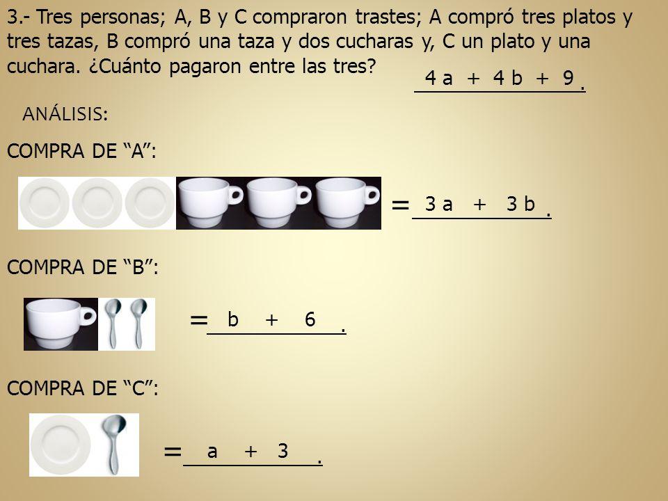 3.- Tres personas; A, B y C compraron trastes; A compró tres platos y tres tazas, B compró una taza y dos cucharas y, C un plato y una cuchara. ¿Cuánt