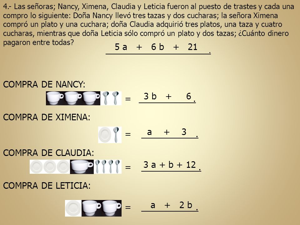 4.- Las señoras; Nancy, Ximena, Claudia y Leticia fueron al puesto de trastes y cada una compro lo siguiente: Doña Nancy llevó tres tazas y dos cuchar