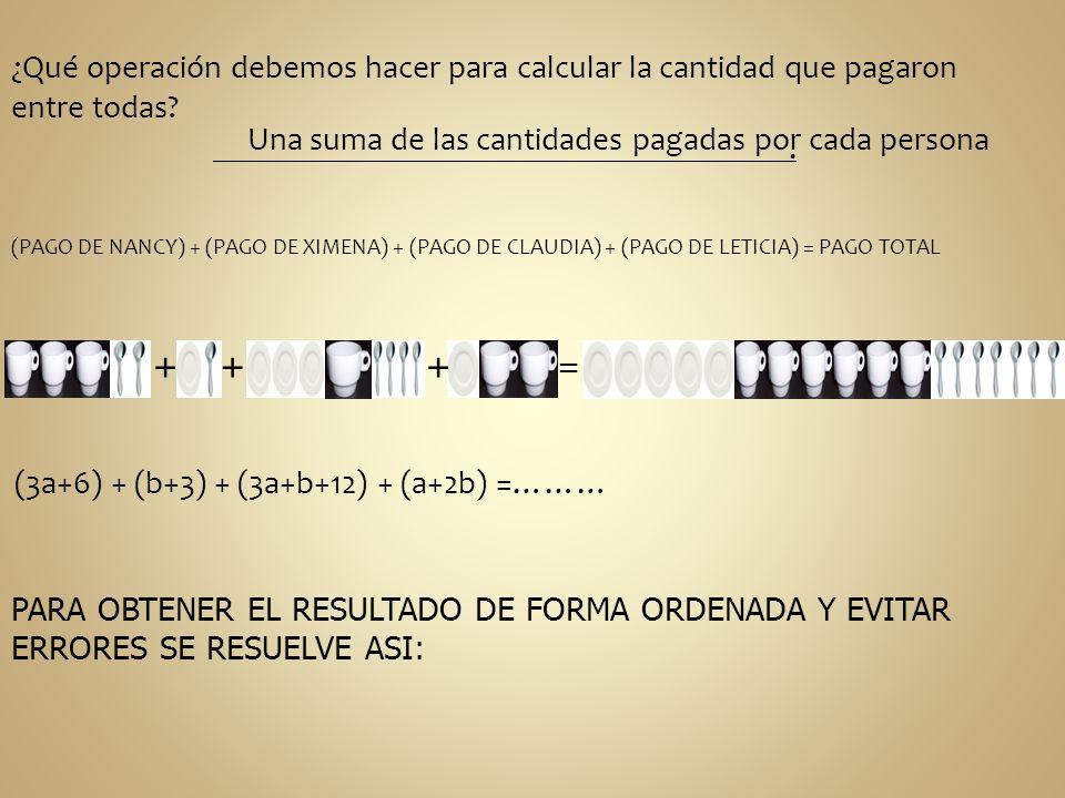 ¿Qué operación debemos hacer para calcular la cantidad que pagaron entre todas? Una suma de las cantidades pagadas por cada persona (PAGO DE NANCY) +