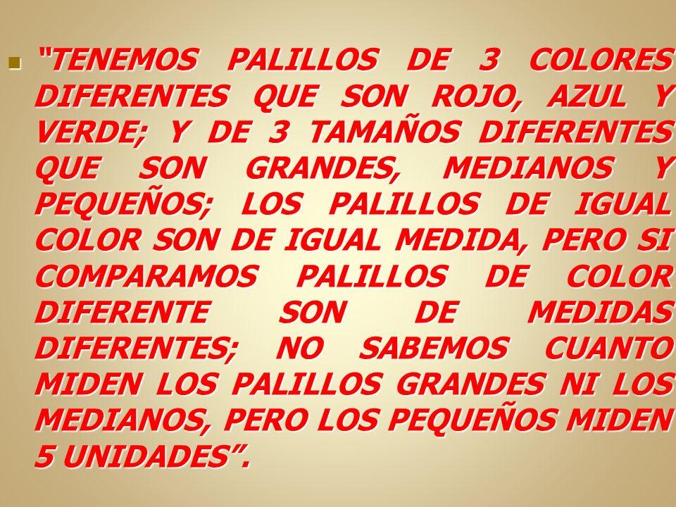 TENEMOS PALILLOS DE 3 COLORES DIFERENTES QUE SON ROJO, AZUL Y VERDE; Y DE 3 TAMAÑOS DIFERENTES QUE SON GRANDES, MEDIANOS Y PEQUEÑOS; LOS PALILLOS DE I
