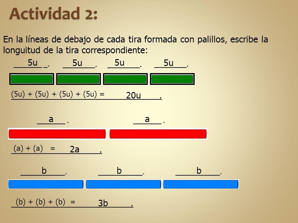 En la líneas de debajo de cada tira formada con palillos, escribe la longuitud de la tira correspondiente: 5u 20u. ________. a (a) + (a) = _______.. 2