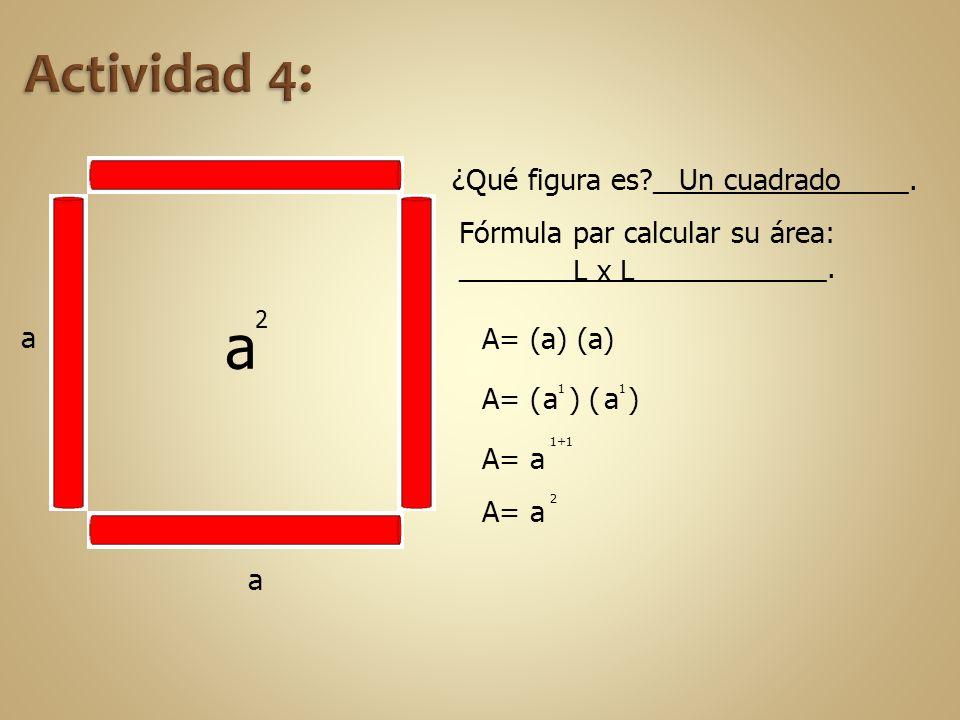 a a ¿Qué figura es?________________. Fórmula par calcular su área: _______________________. L x L A= (a) (a) A= ( ) ( )a 1 A= a 1+1 A= a 2 a 2 Un cuad