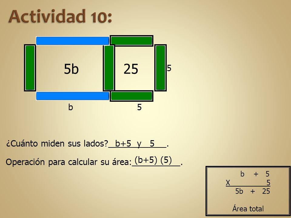 5 5 255b b Operación para calcular su área:__________. ¿Cuánto miden sus lados?____________.b+5 y 5 (b+5) (5) b + 5 X 5 5b + 25 Área total