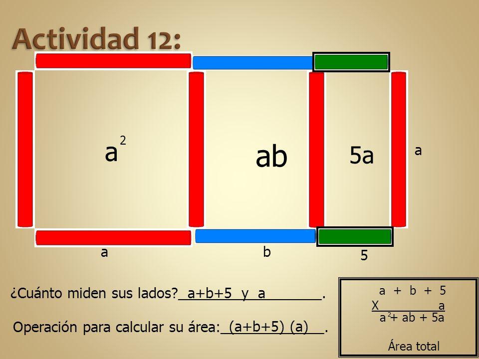 a b a 2 ab a 5 5a ¿Cuánto miden sus lados?__________________. Operación para calcular su área:_____________. a+b+5 y a (a+b+5) (a) 2 a + ab + 5a Área