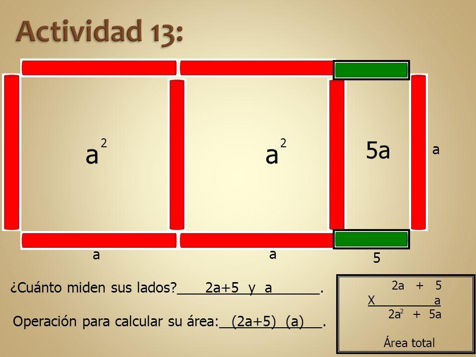 a 2 a 2 a 5 5a a a ¿Cuánto miden sus lados?__________________. Operación para calcular su área:_____________. 2a+5 y a (2a+5) (a) 2a + 5a Área total 2