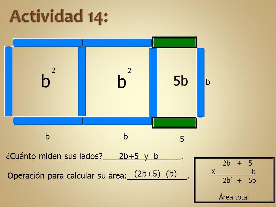 b b b 2 b b 2 5b 5 ¿Cuánto miden sus lados?_________________. Operación para calcular su área:_____________. 2b+5 y b (2b+5) (b) 2 2b + 5b Área total