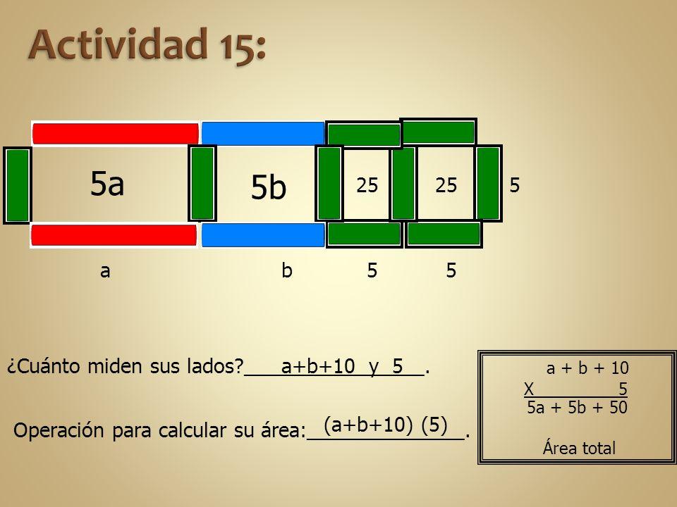a 5a 5 25 5b b 255 5 a+b+10 y 5 ¿Cuánto miden sus lados?________________. Operación para calcular su área:______________. (a+b+10) (5) 5a + 5b + 50 Ár