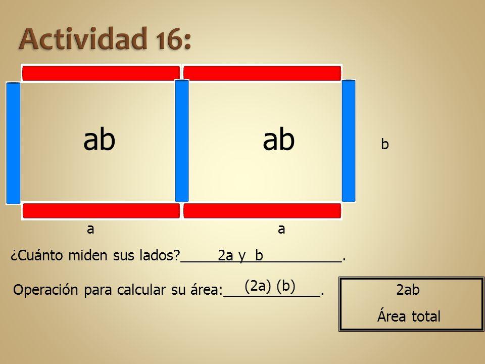ab aa b ¿Cuánto miden sus lados?____________________. Operación para calcular su área:____________. 2a y b (2a) (b) 2ab Área total