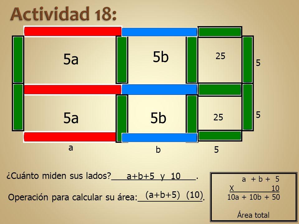 5a 5 25 5b 5 5 25 5b b a ¿Cuánto miden sus lados?_________________. a+b+5 y 10 Operación para calcular su área:_____________. (a+b+5) (10) 10a + 10b +