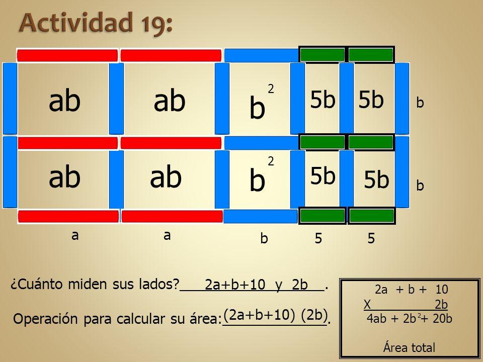ab b 2 b 2 5b aa b b b 5 5 ¿Cuánto miden sus lados?__________________. Operación para calcular su área:_____________. 2a+b+10 y 2b (2a+b+10) (2b) 4ab