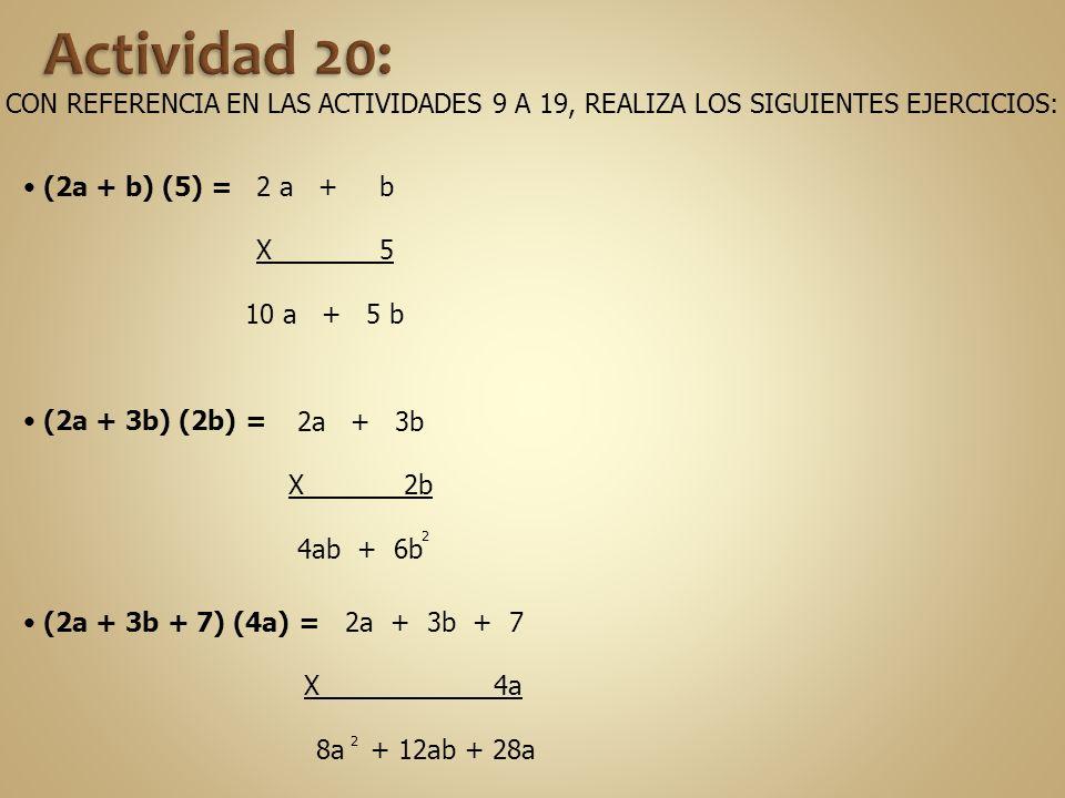 CON REFERENCIA EN LAS ACTIVIDADES 9 A 19, REALIZA LOS SIGUIENTES EJERCICIOS: (2a + b) (5) = 2 a + b X 5 10 a + 5 b (2a + 3b) (2b) = (2a + 3b + 7) (4a)