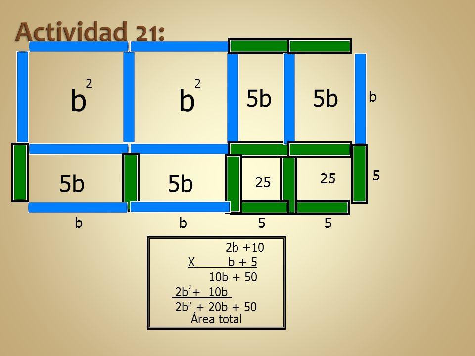 b 2 b 2 5b b b5 5 25 5 5b b Área total 2 2 2b +10 X b + 5 10b + 50 2b + 10b 2b + 20b + 50