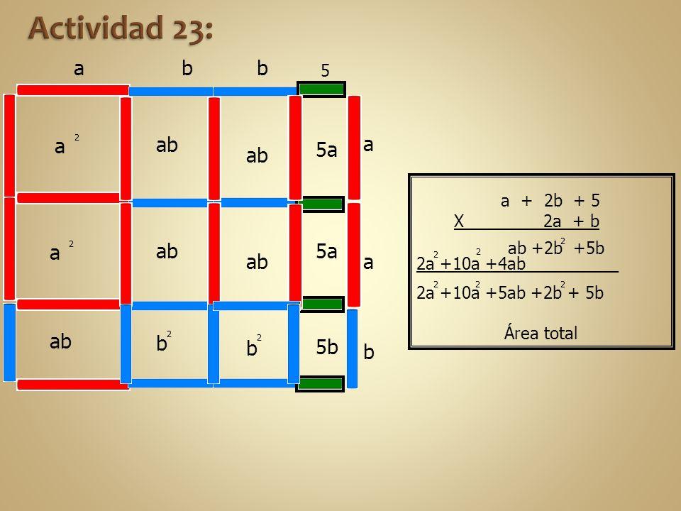 2a +10a +4ab _ _ ab +2b +5b 5a 2a +10a +5ab +2b + 5b Área total 2 2 2 2 a ab b 2 a 2 a 2 5b 5a ab b 2 a a b b b 5 a + 2b + 5 X 2a + b 2 2
