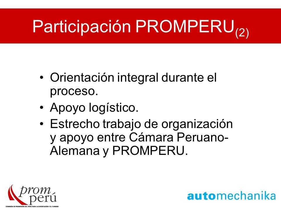 Participación PROMPERU (2) Orientación integral durante el proceso. Apoyo logístico. Estrecho trabajo de organización y apoyo entre Cámara Peruano- Al