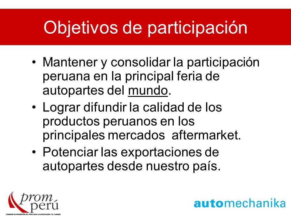 Objetivos de participación Mantener y consolidar la participación peruana en la principal feria de autopartes del mundo. Lograr difundir la calidad de