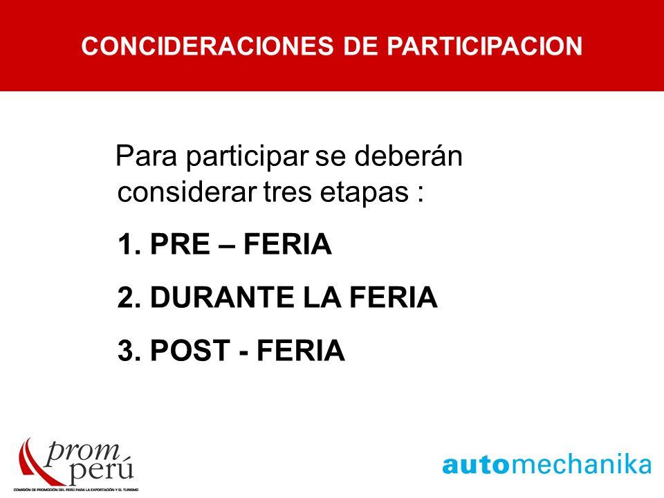 ETAPAS DE UNA FERIA Para participar se deberán considerar tres etapas : 1. PRE – FERIA 2. DURANTE LA FERIA 3. POST - FERIA CONCIDERACIONES DE PARTICIP