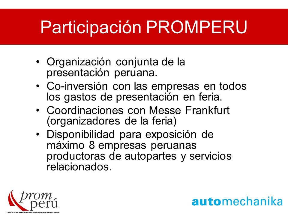 Participación PROMPERU Organización conjunta de la presentación peruana. Co-inversión con las empresas en todos los gastos de presentación en feria. C