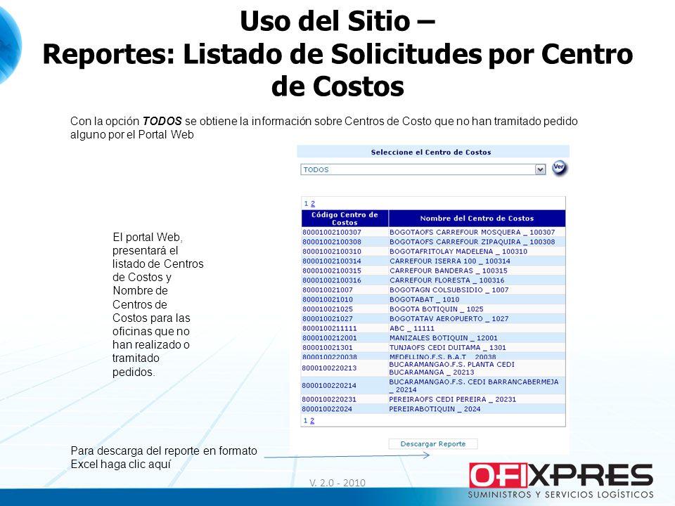 V. 2.0 - 2010 Uso del Sitio – Reportes: Listado de Solicitudes por Centro de Costos Con la opción TODOS se obtiene la información sobre Centros de Cos