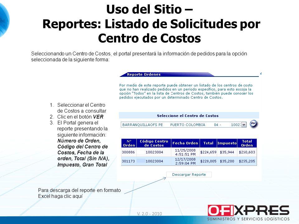 V. 2.0 - 2010 Uso del Sitio – Reportes: Listado de Solicitudes por Centro de Costos Seleccionando un Centro de Costos, el portal presentará la informa