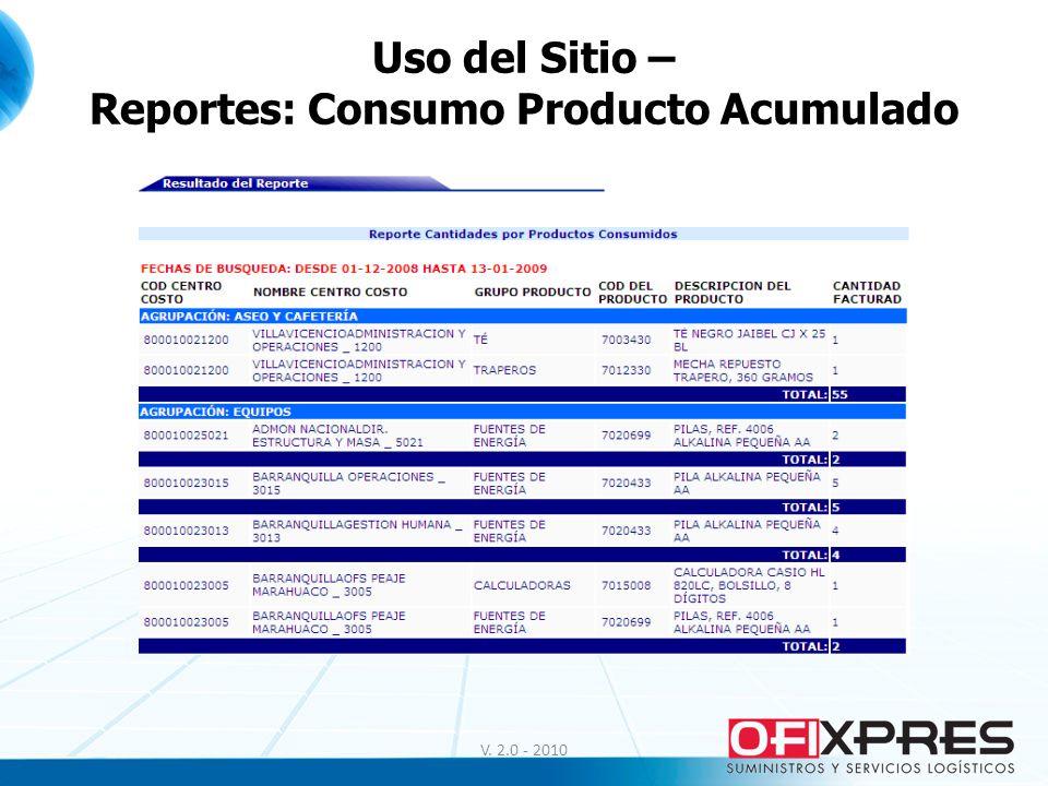 V. 2.0 - 2010 Uso del Sitio – Reportes: Consumo Producto Acumulado