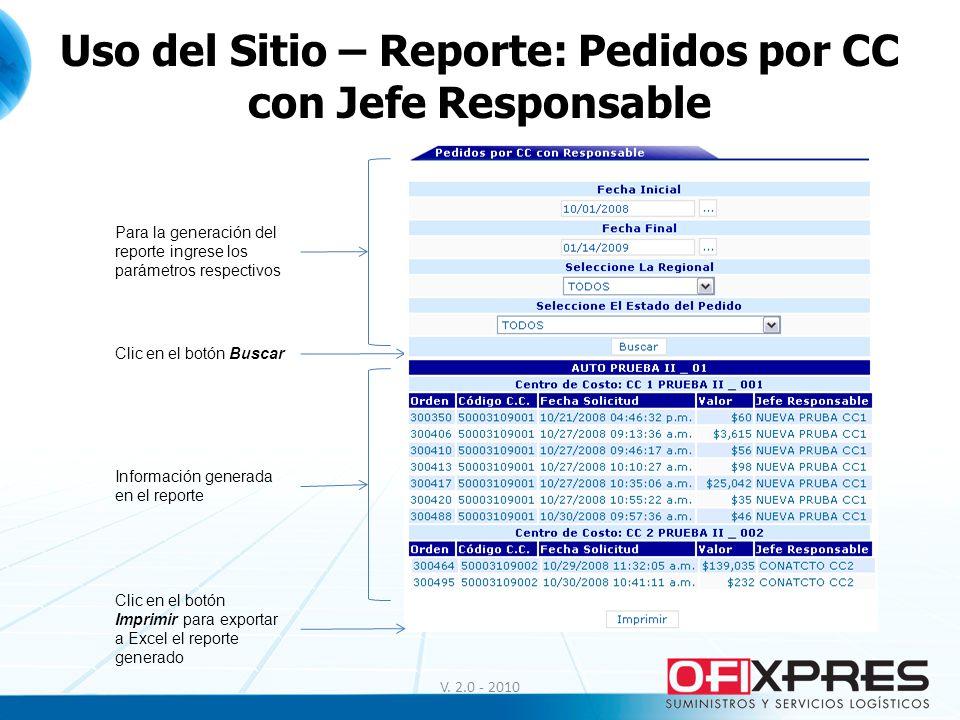 V. 2.0 - 2010 Uso del Sitio – Reporte: Pedidos por CC con Jefe Responsable Para la generación del reporte ingrese los parámetros respectivos Clic en e