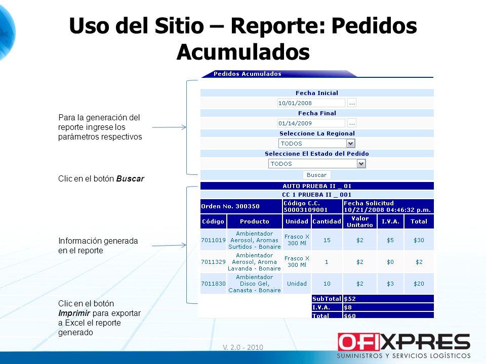 V. 2.0 - 2010 Uso del Sitio – Reporte: Pedidos Acumulados Para la generación del reporte ingrese los parámetros respectivos Clic en el botón Buscar In