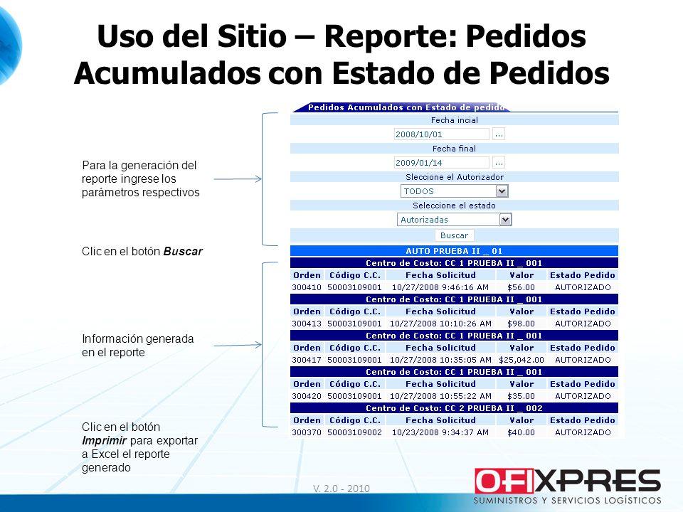 V. 2.0 - 2010 Uso del Sitio – Reporte: Pedidos Acumulados con Estado de Pedidos Para la generación del reporte ingrese los parámetros respectivos Clic